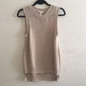 H&M Knit Beige Sleeveless Sweater
